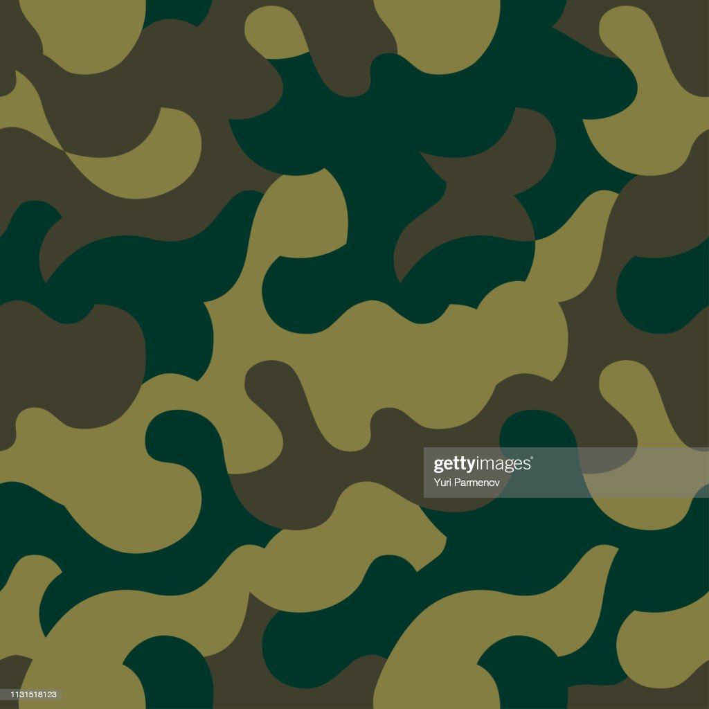Green camouflage seamless pattern. Vector camo military backgound. Fabric textile print tamplate.
