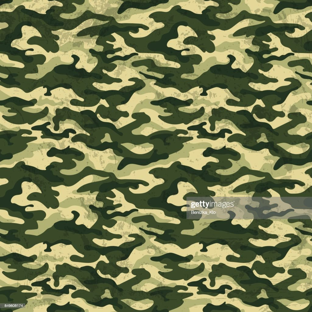 Green Camouflage With Grunge Effect Background Vector Ilration Art