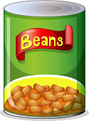 A green can of baked beans with a picture of them below