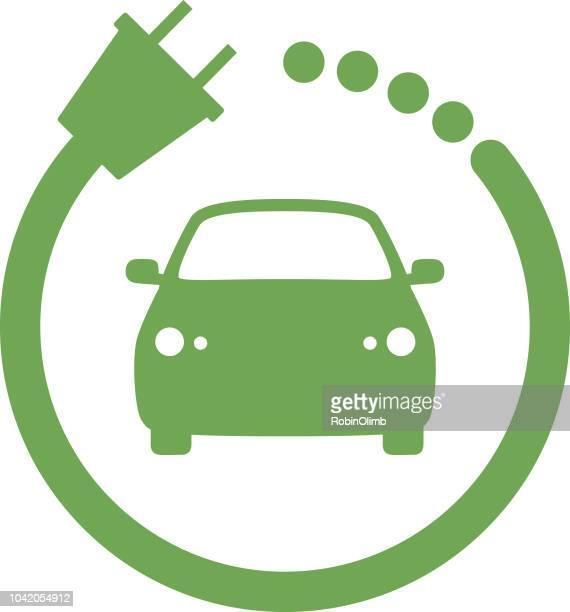 ilustraciones, imágenes clip art, dibujos animados e iconos de stock de icono de cargador de coche verde - vehículo eléctrico