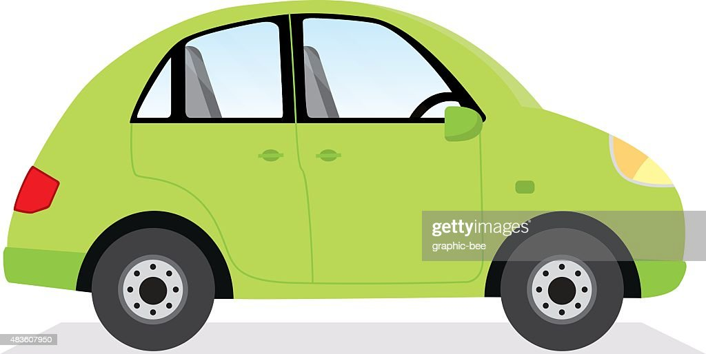 Green car isolated