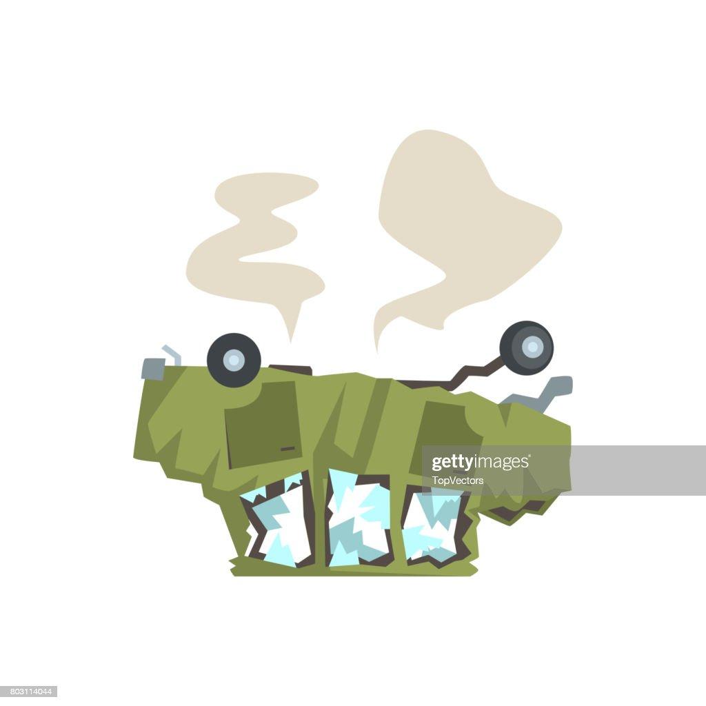 Grünes Auto Umgeworfen Und Beschädigt Durch Unfall Cartoon Vector