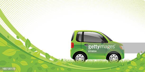 green car - compact car stock illustrations, clip art, cartoons, & icons