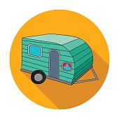 Green caravan icon in flat style isolated on white background. Family holiday symbol stock vector illustration.
