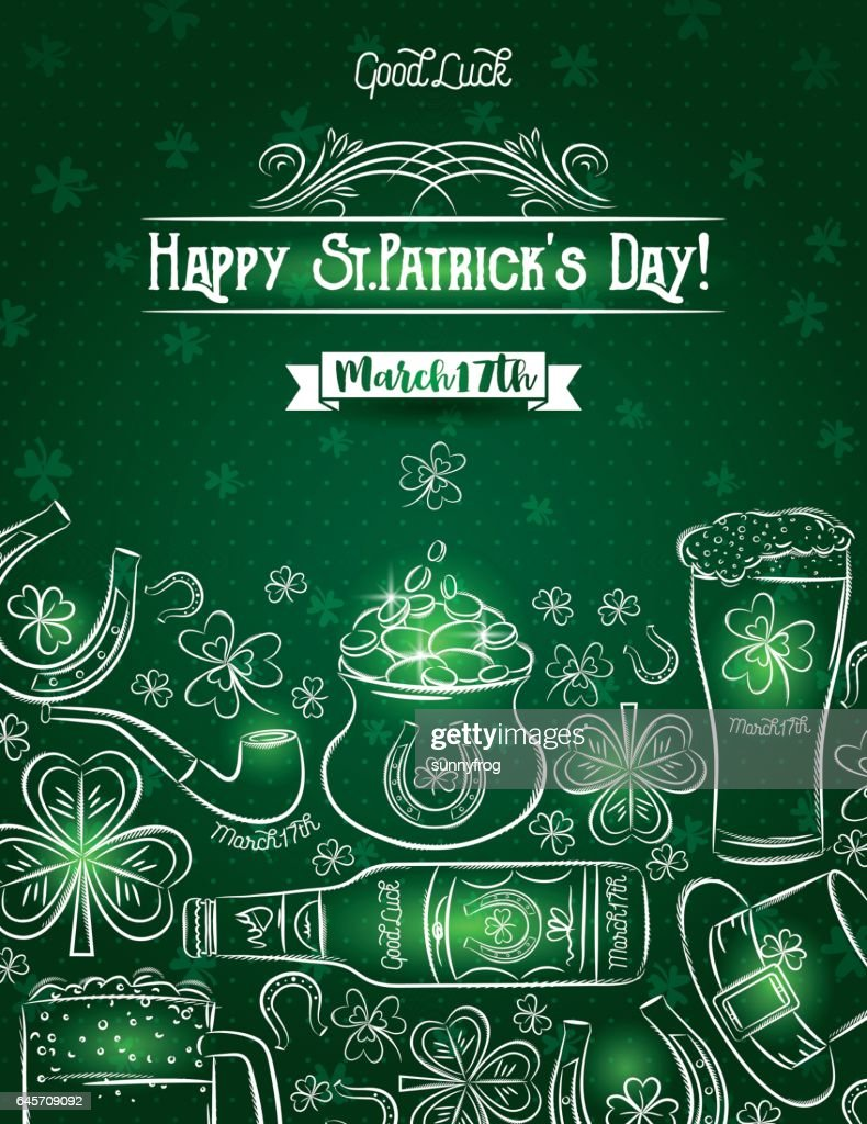 Green card for St. Patrick's Day, beer bottle, horseshoe, shamrock