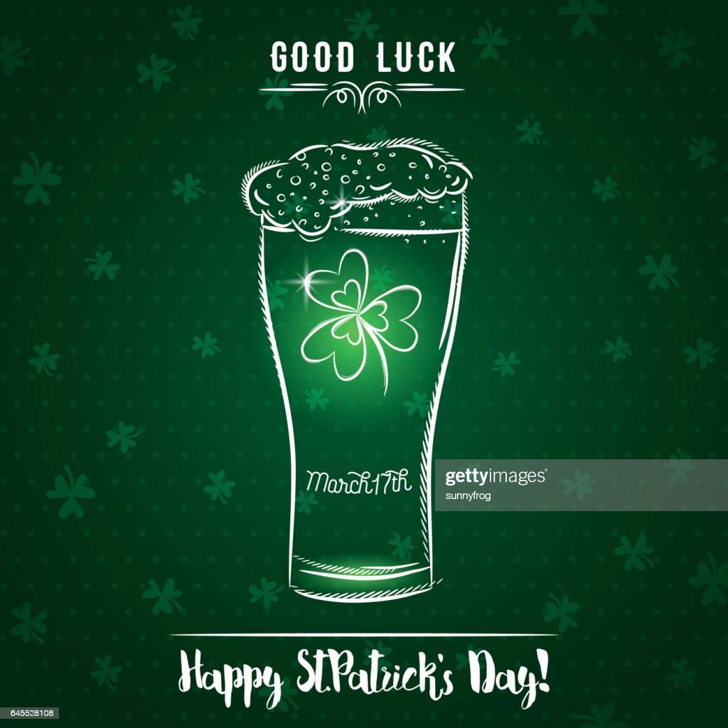 Green card for St. Patrick's Day with  beer mug, shamrock