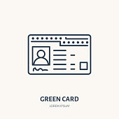 Green card, identity vector flat line icon. ID document sign