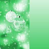 Green card with christmas balls. EPS 8
