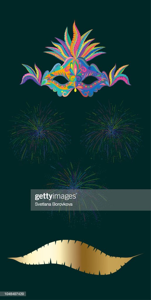 Green carnival background with color mask and fireworks.