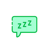 green cartoon speech bubble with zzz