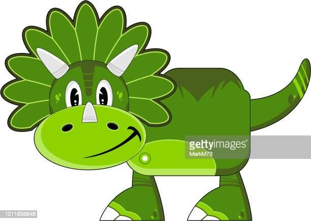 Green Cartoon Triceratops Dinosaur