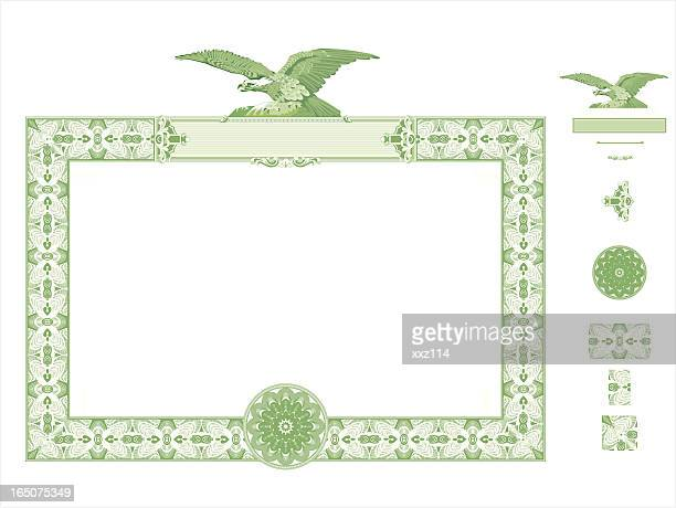 green certificate seal with eagle at the top - thanks quotes stock illustrations