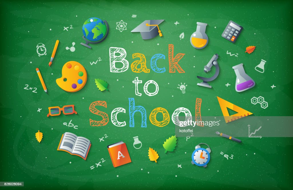 Green chalkboard with Back to school drawing lettering