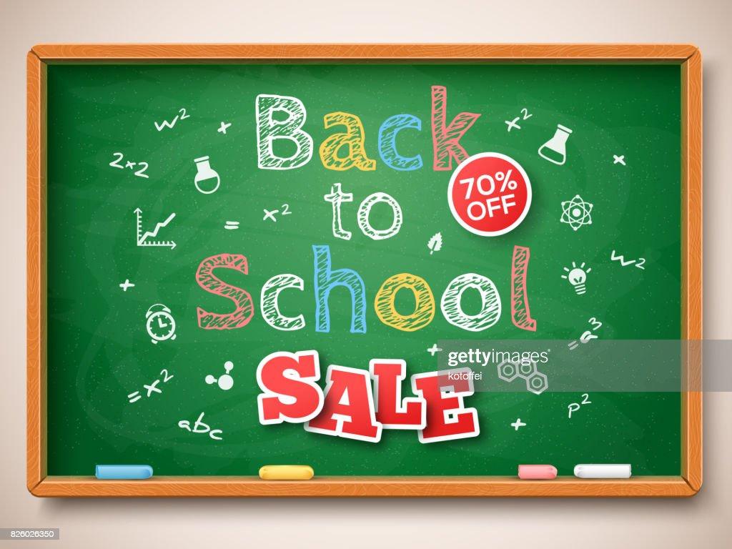 Green chalkboard with Back to school Sale