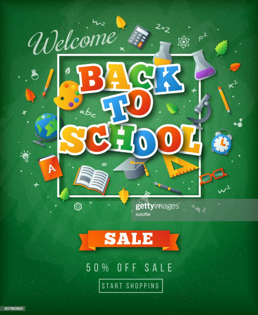 Green chalkboard with Back to school stickers