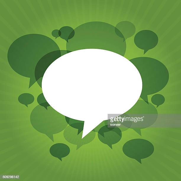Green Chat bubbles on ecology light rays background
