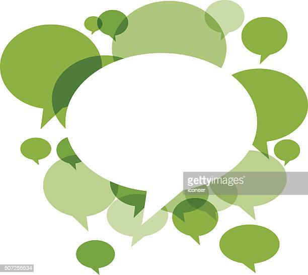 Green Chat bubbles on white background