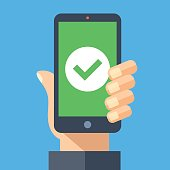 Green check mark icon on smartphone screen. Hand holding smartphone with green tick. Modern flat design vector illustration