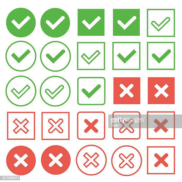 green check marks and red crosses