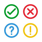 green check, red cross, blue question mark, yellow exclamation point, round thin line vector signs