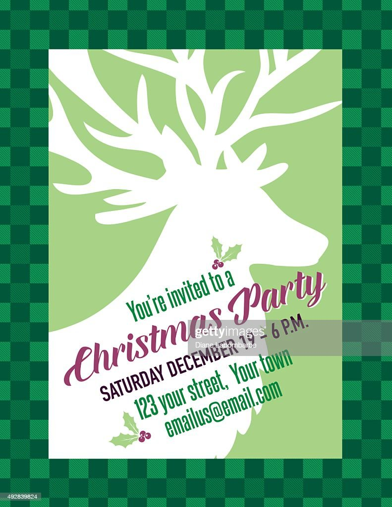 green checked plaid holiday dinner party invitation vector art