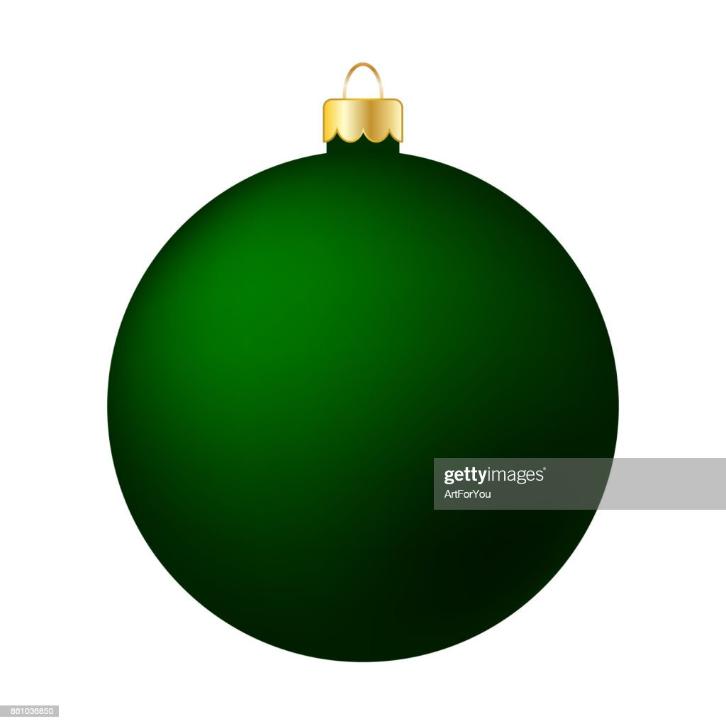 Green Christmas Ball Isolated on White - Merry Christmas!