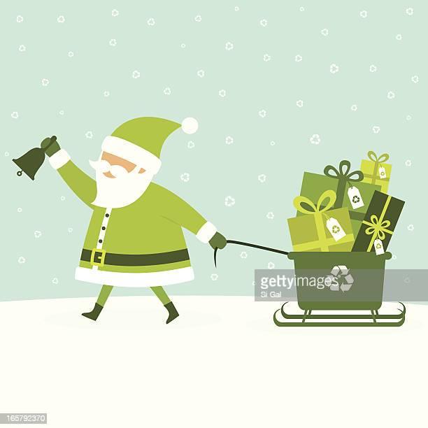 緑のクリスマスプレゼント - サンタ ソリ点のイラスト素材/クリップアート素材/マンガ素材/アイコン素材