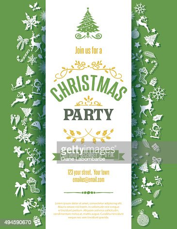 Green Christmas Party Invitation Template Vector Art  Getty Images