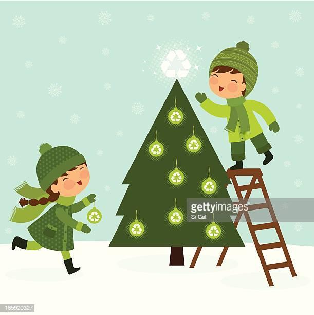 ilustraciones, imágenes clip art, dibujos animados e iconos de stock de verde árbol de navidad - decorar