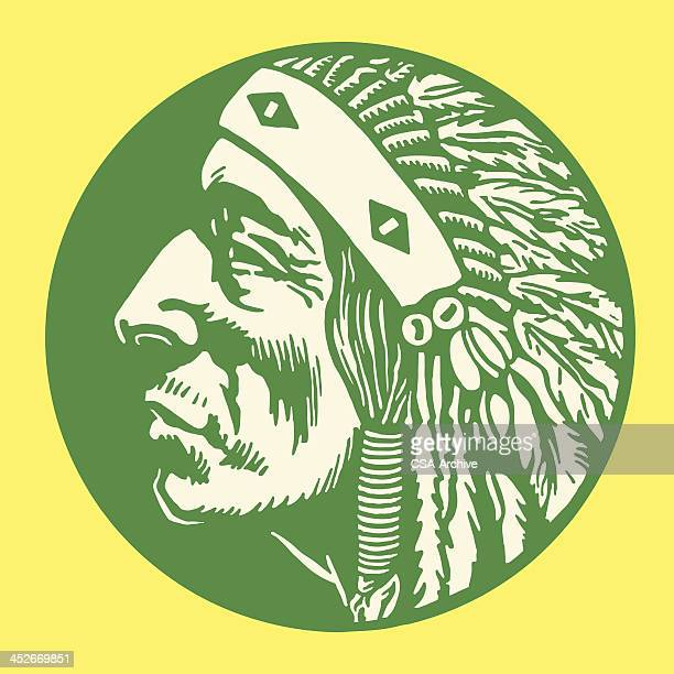 Green, circular image with green Native American man profile
