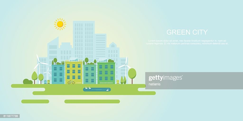 Green city and sustainable community flat vector banner