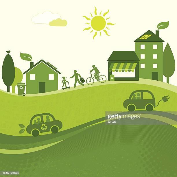 green city landscape (greenworld series) - hybrid car stock illustrations, clip art, cartoons, & icons