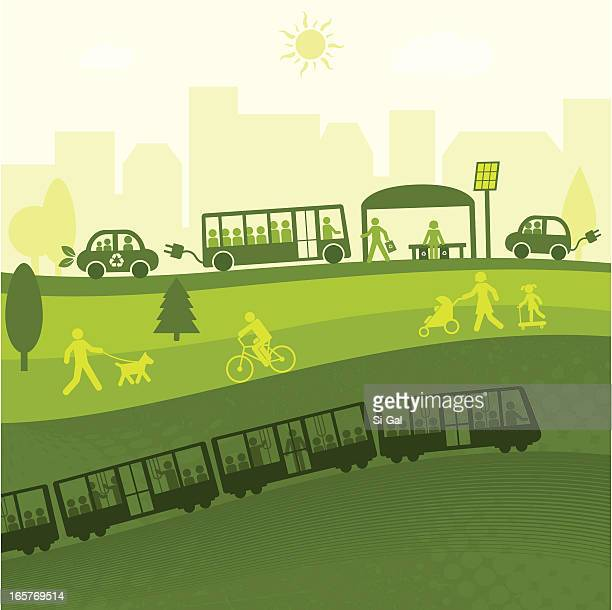 green city life(green world series) - train vehicle stock illustrations