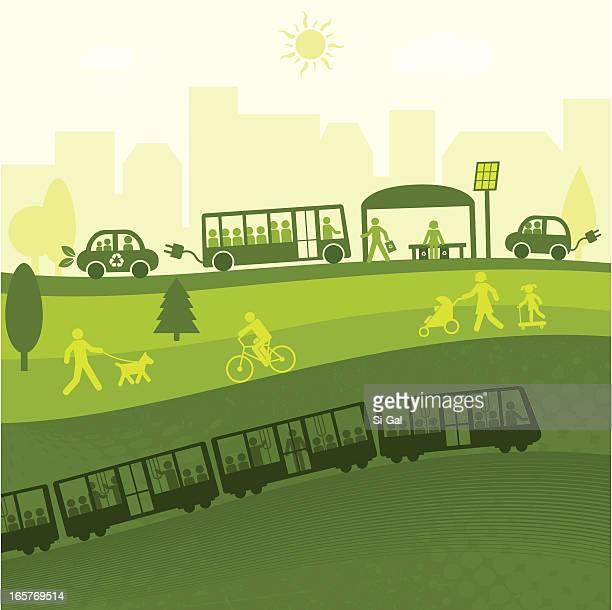 green city life(green world series) - bus stock illustrations