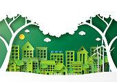 Green city on landscape scene paper art background