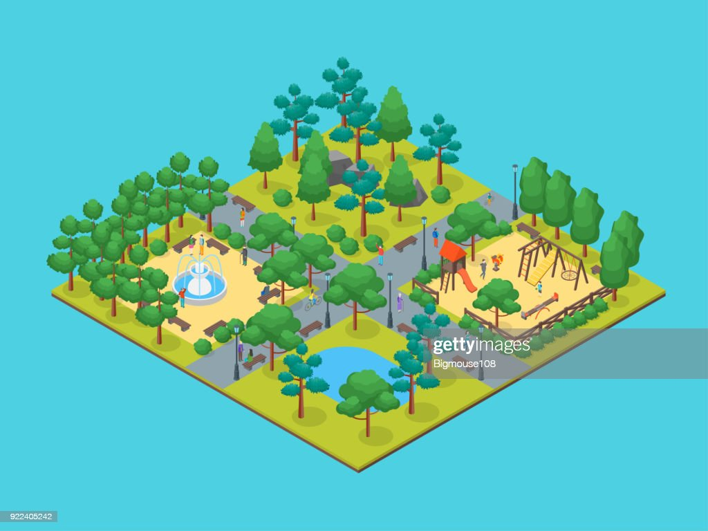 Green City Park Concept 3d Isometric View. Vector