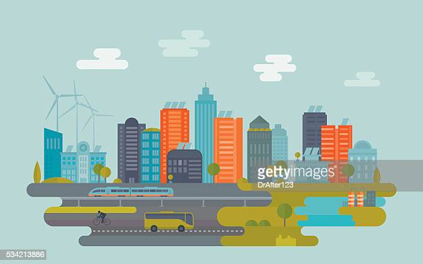 green city - illustration technique stock illustrations
