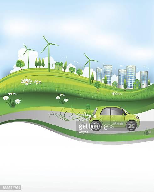 ilustraciones, imágenes clip art, dibujos animados e iconos de stock de verde a la ciudad  - vehículo eléctrico