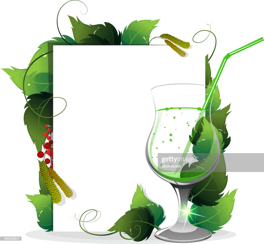 Green cocktail with leaves : Vector Art