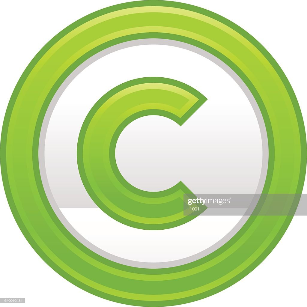 Green Copyright Symbol Sign Matte Icon