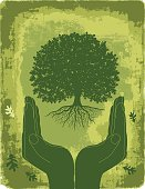 Green Cupped Hands With Oak Tree Silhouette