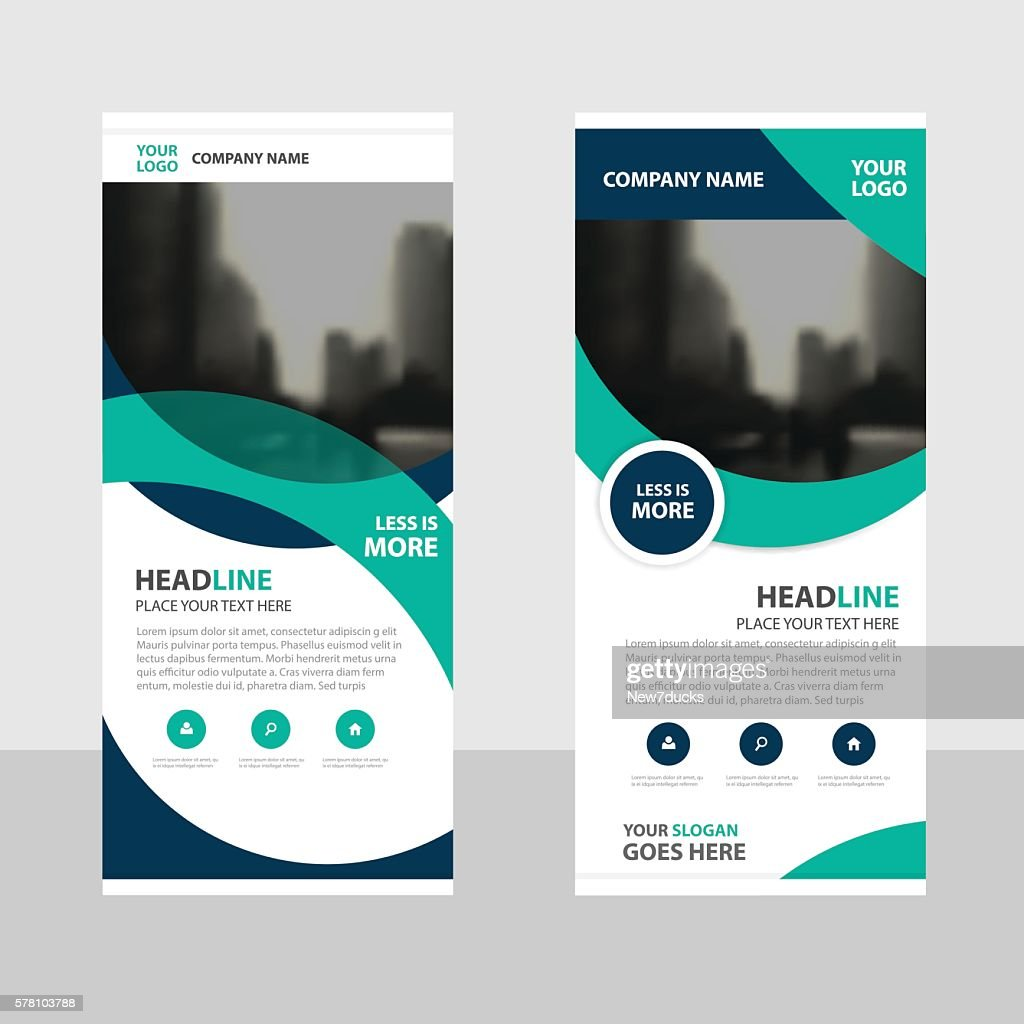 Green curve Business Roll Up Banner flat design template Abstract
