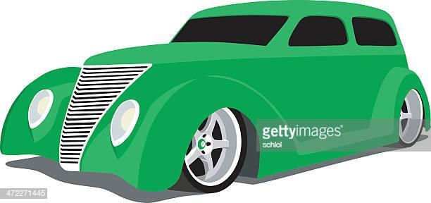 green custom hot rod - low rider stock illustrations