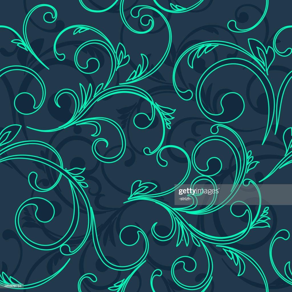 Green damask pattern on navy background