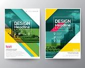 Green diagonal line Brochure annual report cover Flyer Poster design