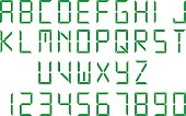 Green digital font