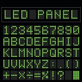 Green digital squre led font display with sample panel
