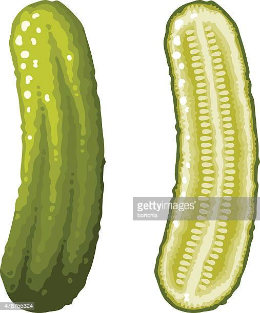 green dill pickle icons, whole and sliced - pickled stock illustrations