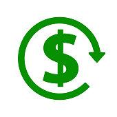green dollar icon with arrow, stock vector illustration