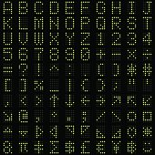 Green dot digital font and symbol set vector illustration
